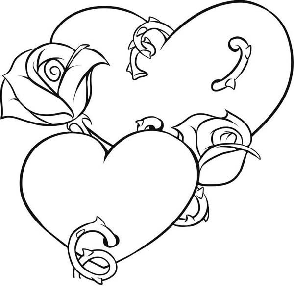 Coloring Pages Hearts Roses