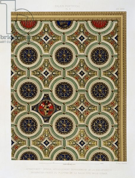 Borgia Apartment, annex of Vatican Library, detail of decoration on mirror of vault in Sala delle Storie, chromolithograph from The Vatican and St Peter's Basilica, 1882, by Paul Marie Letarouilly (1795-1855), Volume II, Papal Palace, Plate 2