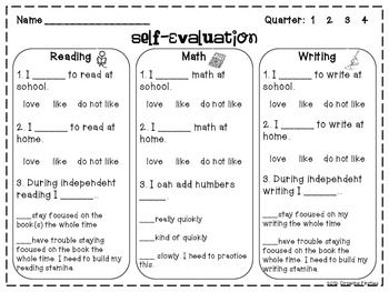 Student Self Evaluation For Report Cards Or Conferences  Freebie
