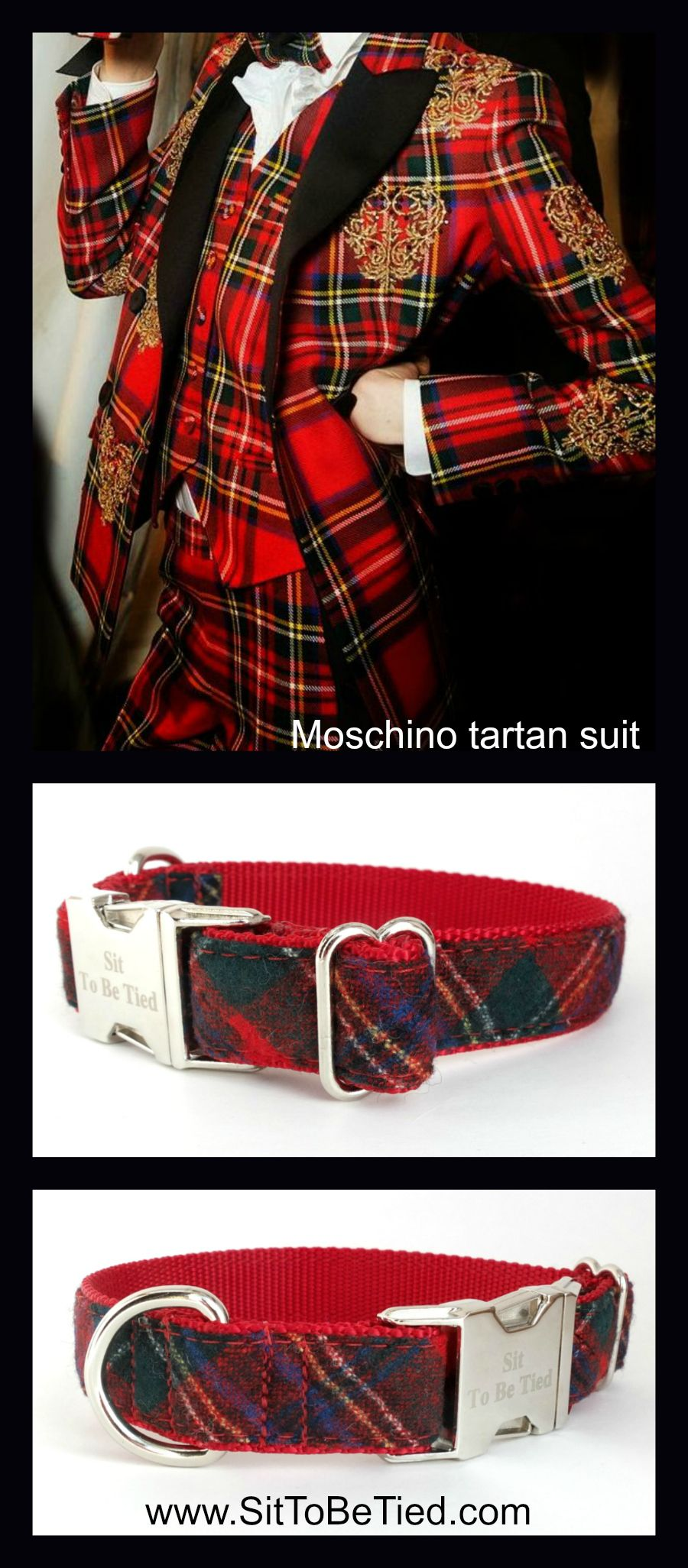 #Tartan dog collar. Tartan fashion. For her: Moschino tartan suit.  For the dog: Christmas dog collar in red tartan, upcycled wool necktie. $27.99