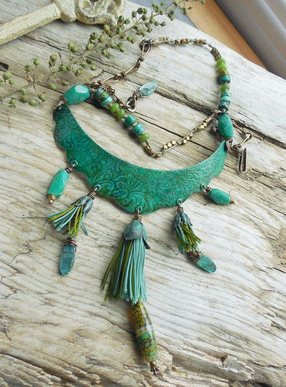 Lune Designs - Turquoise and Teal Blue Statement Necklace Bib Focal Etched Patina with Olive and Teal Tassels Antiqued Brass Jade Kyanite Amazonite