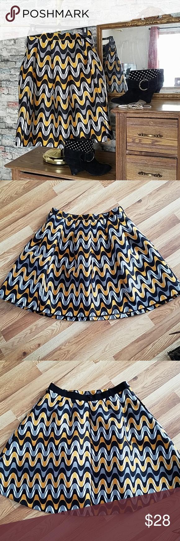 LANE BRYANT Black Golden Yellow Chevron Skirt 16 | Clothes