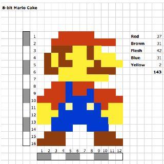 8-bit Mario Cake Design | Art: 8-Bit | Mario party, 8 bit, Mario cake