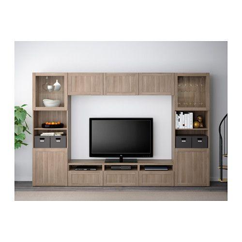 Best 197 Tv Storage Combination Glass Doors Black Brown Valviken Gray Turquoise Clear