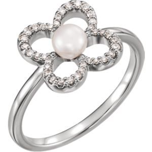6490 / Complete With Stone / 14kt White / Polished / White Freshwater Pearl and 1/6 CTW Diamond Ring