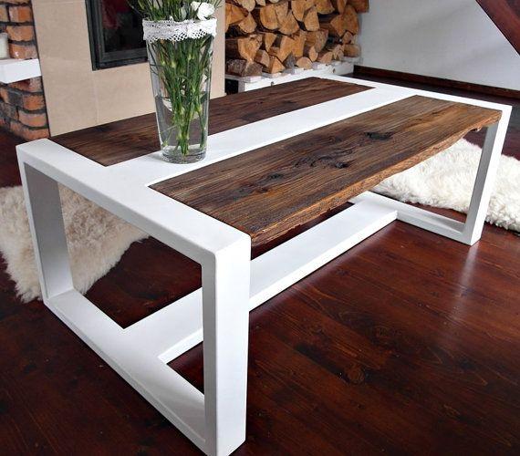 Reclaimed Wood Coffee Table Designs: Design Modern Handmade White Steel & Pine Coffee Table