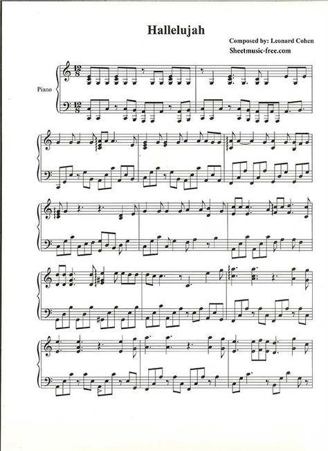 Hallelujah Piano Sheet Music Leonard Cohen Fortepiannaya Muzyka