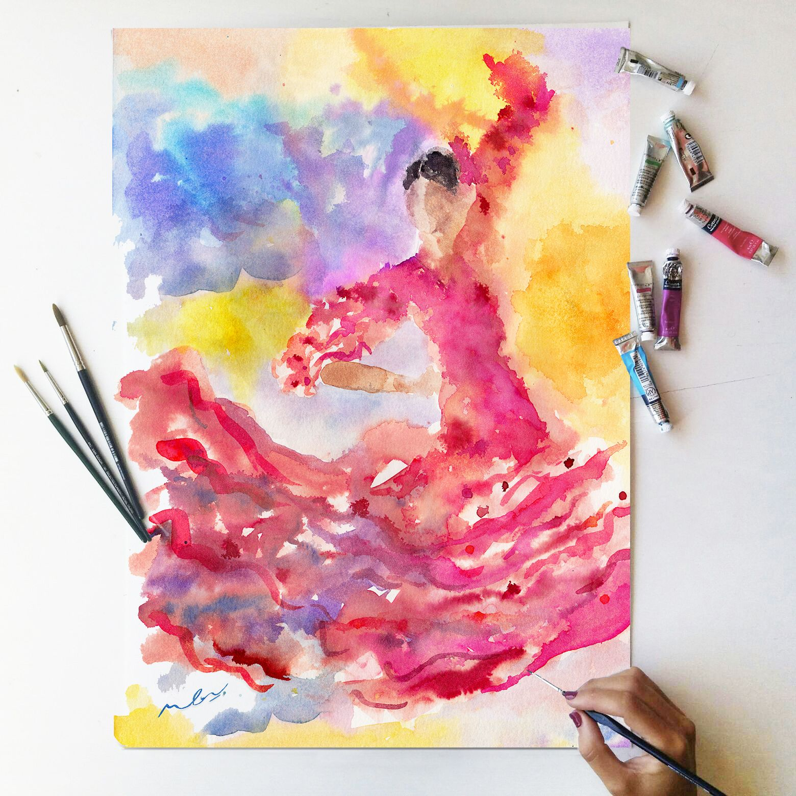 Pinturas Andalucia Sevilla Flamenco Dancer Watercolor Illustration Spanish Dancer