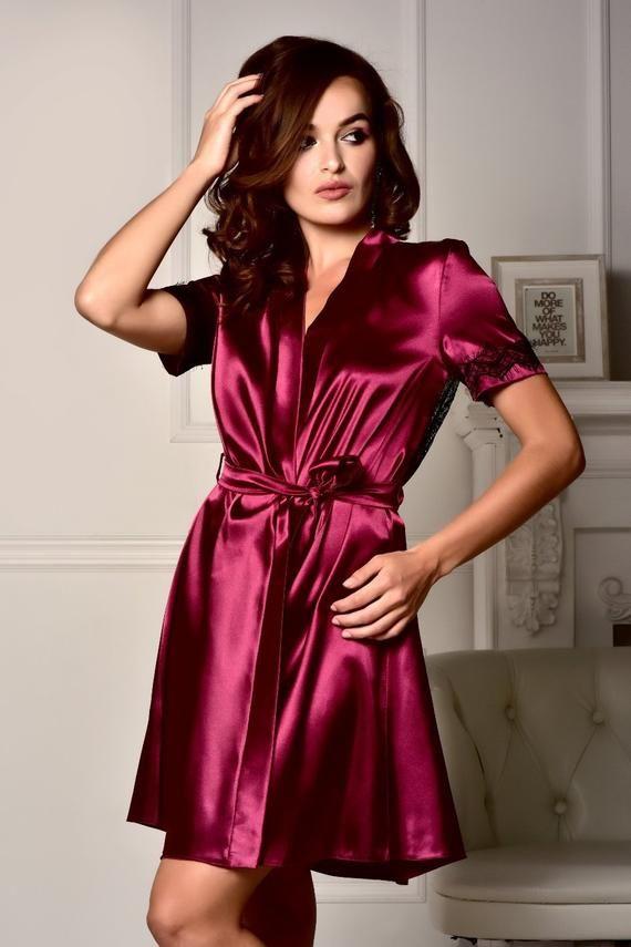 133009b47be1d Burgundy robe Bridesmaid robe Short sleeve robe Summer robe Lace robe Satin  lace robe Plus size robe