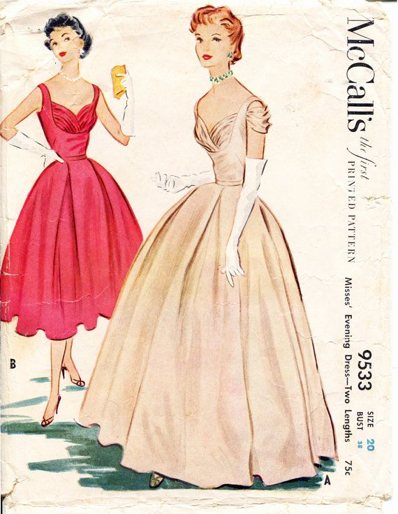 McCalls 9533 1950s Sewing Pattern  Draped Bodice by retromonkeys, $115.00