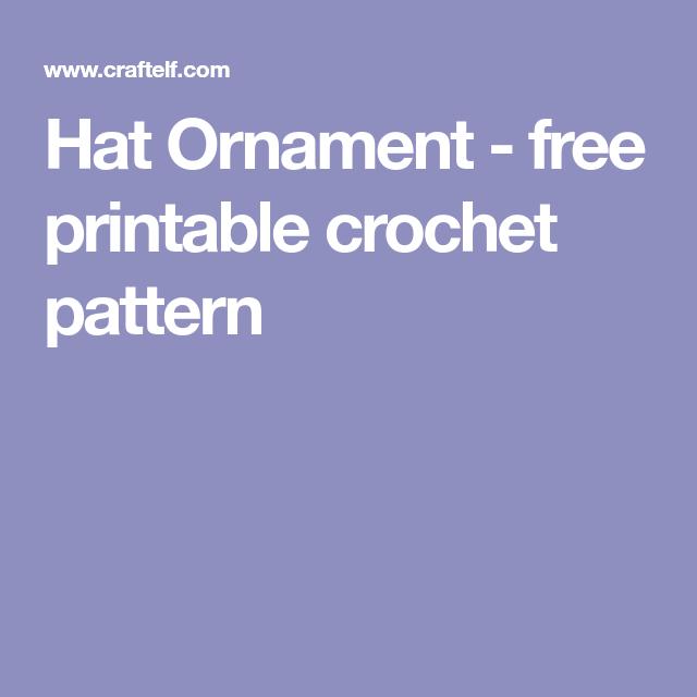 Hat Ornament Free Printable Crochet Pattern Patterns I Need