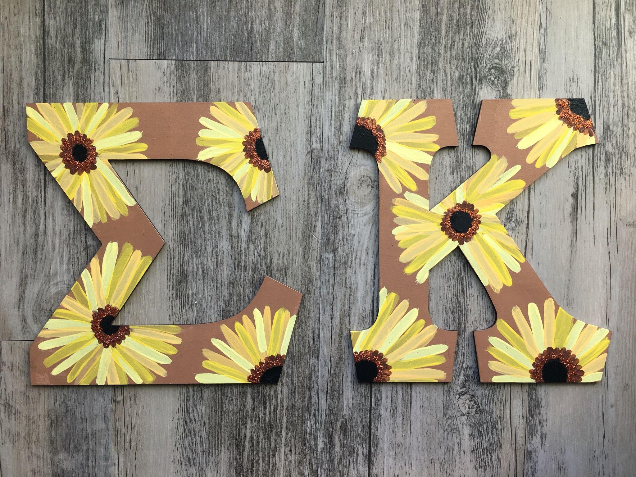 Sigma kappa letters sunflowers big little crafts sorority for Sorority crafts for little
