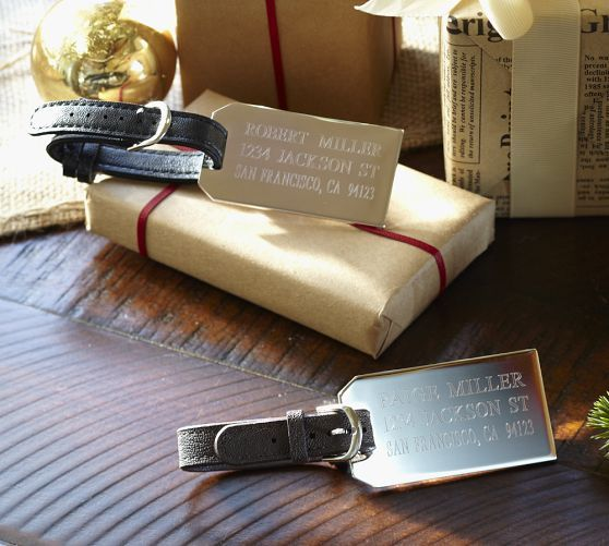 Silver plated engravable luggage tags