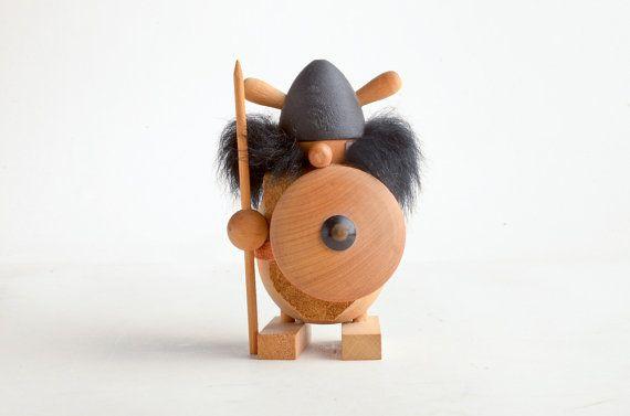 Vintage Wood Viking Figurine Scandinavian Viking Wooden Vintage