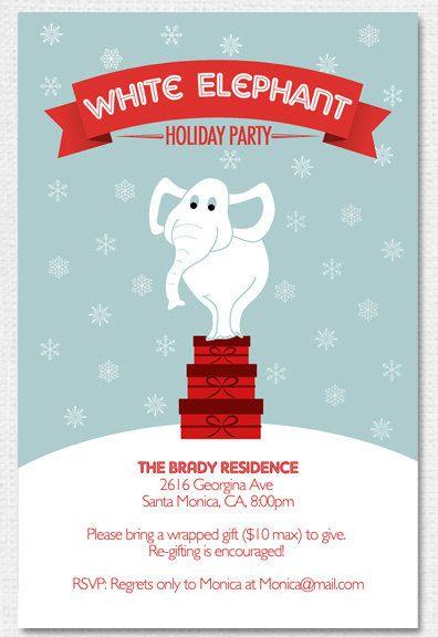 White Elephant Holiday Party Invitation Printable By Adornedheart
