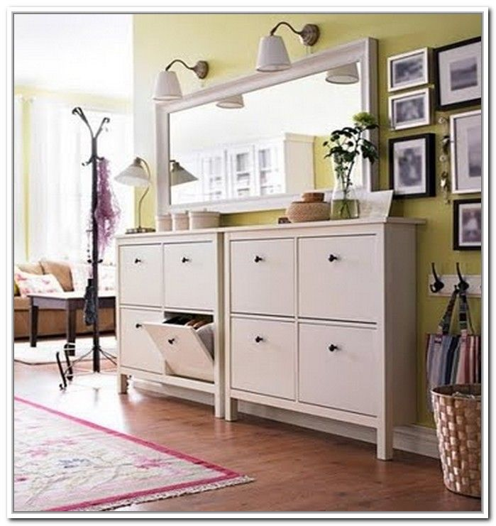 Hallway Shoe Storage Cabinet. This is IKEA Hemnes shoe cabinet in white. & Hallway Shoe Storage Cabinet. This is IKEA Hemnes shoe cabinet in ...