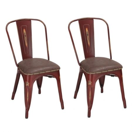 Fantastic Tolix Style Pu Cushion Top Metal Dining Chairs Set Of 2 Machost Co Dining Chair Design Ideas Machostcouk