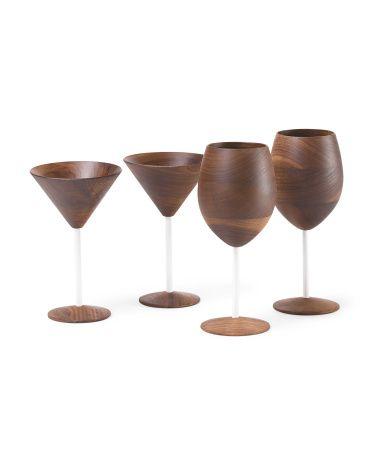 White Stem Walnut Drinkware Collection - Dining & Entertaining - T.J.Maxx