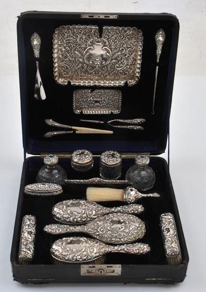 Antique Dressing Table Sets Necessaires Travel Cases For Ladies