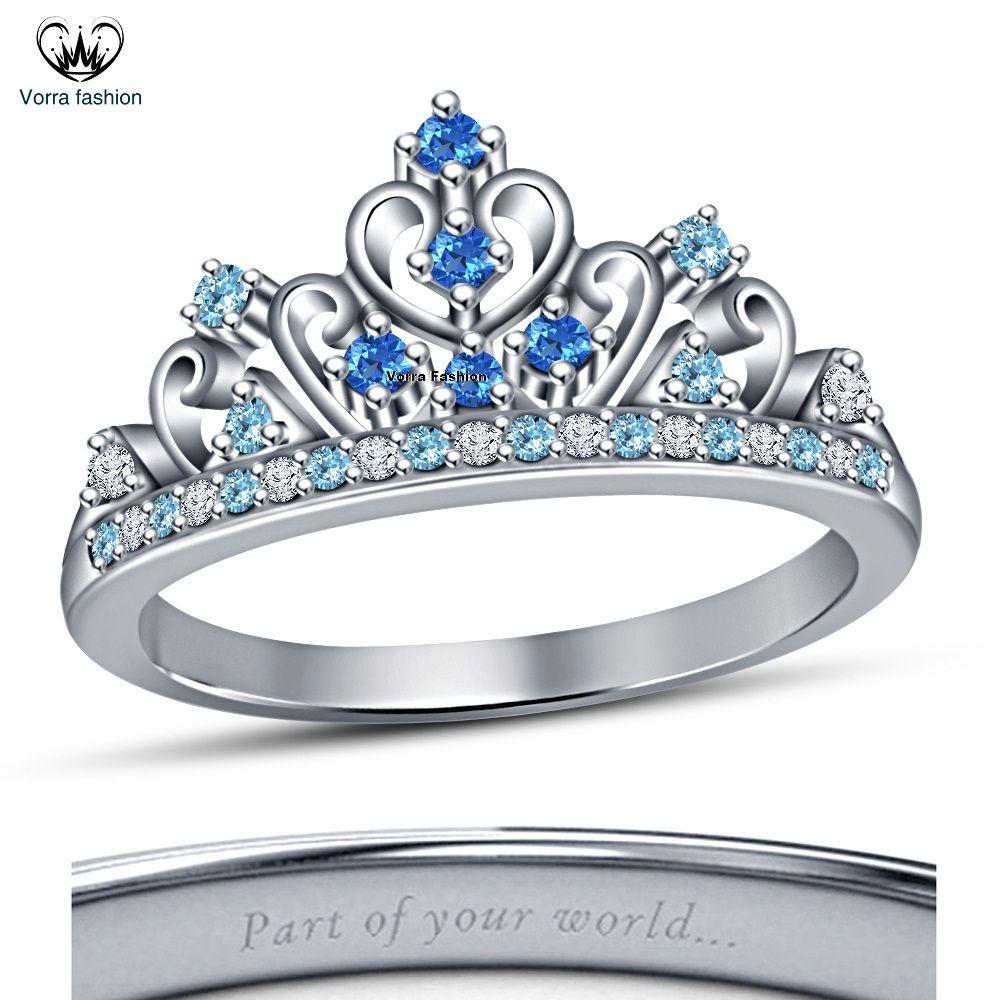 14k White Gold Plated 925 Silver Women's Disney Princess