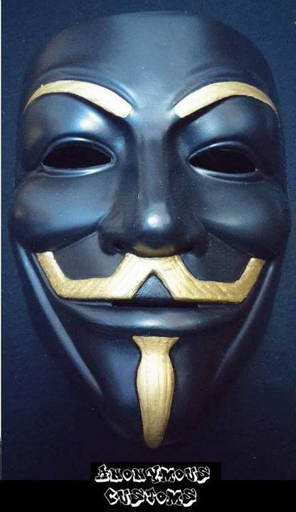 Anonymous Gold On Black Custom Mask Guy Fawkes Hand Painted Cool