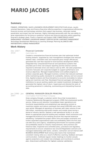 financial controller resume example