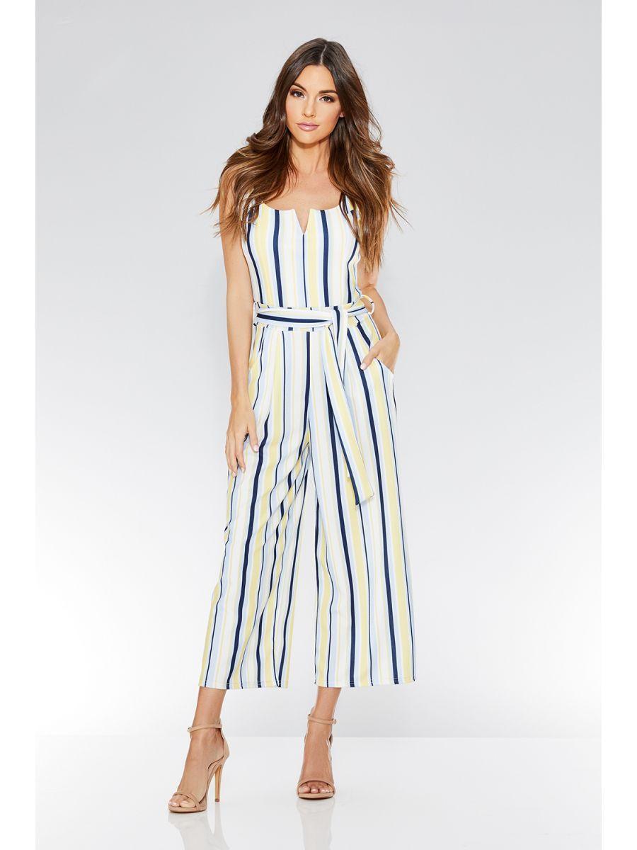 6b126a81f8c2 Cream Lemon And Blue Stripe Culotte Jumpsuit