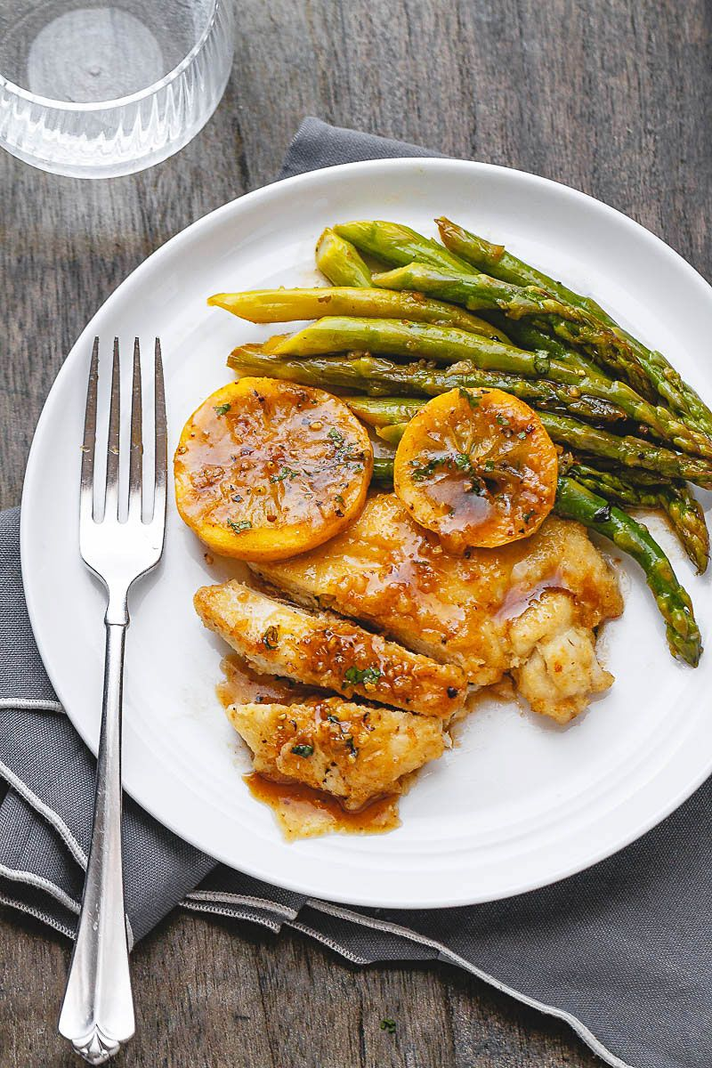 Honey Lemon Butter Chicken Recipe with Asparagus H