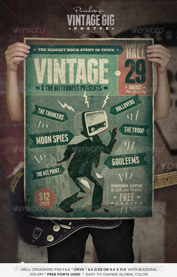 vintage gig poster gig poster flyer template and template