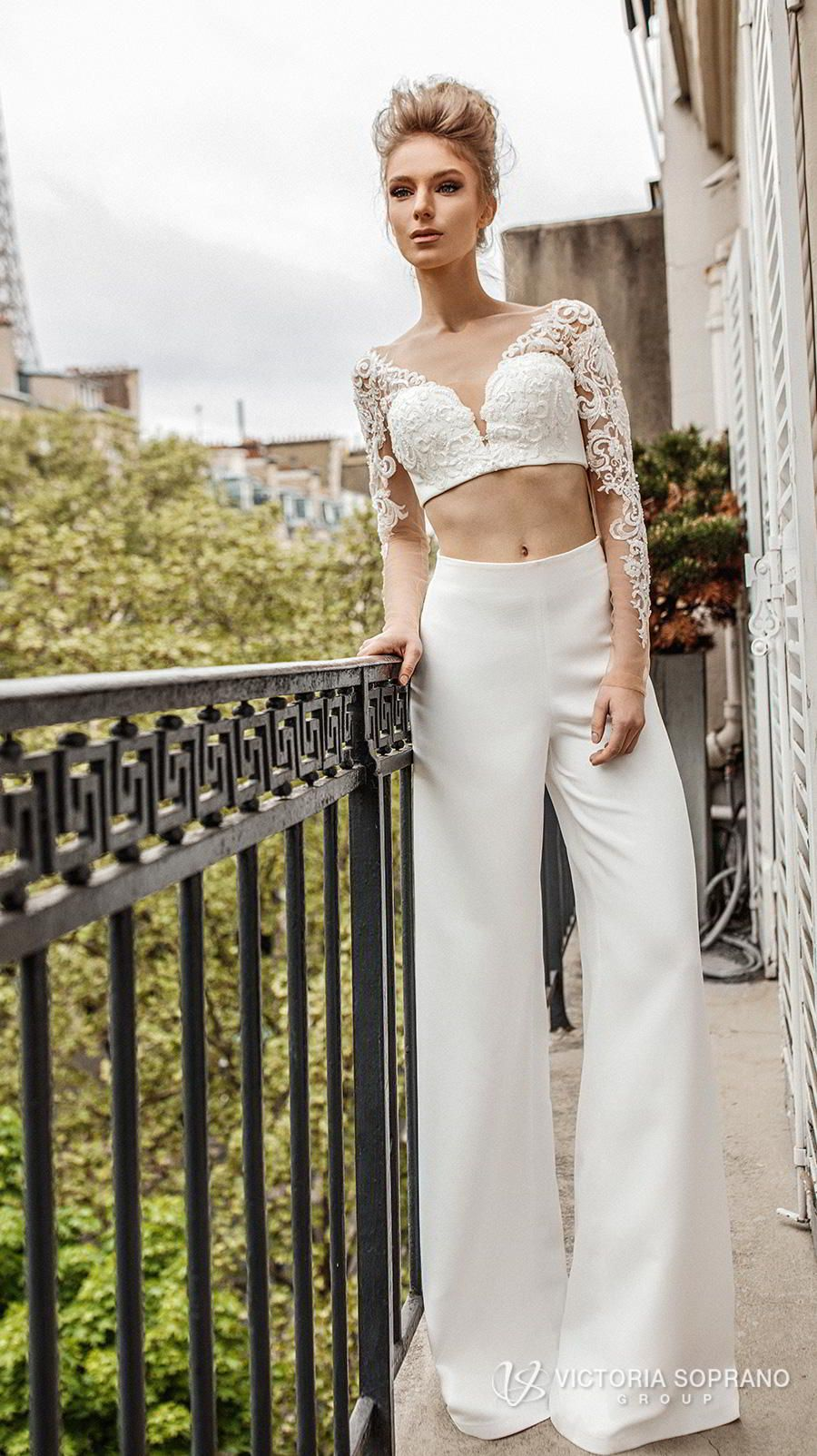Victoria Soprano 2019 Bridal Long Sleeves V Neck Heavily Embellised Bodice Crop Top 2 Piece Pants Wedding Dress Backless Monro Mv These: Silver Wedding Dress V Neck Top At Reisefeber.org