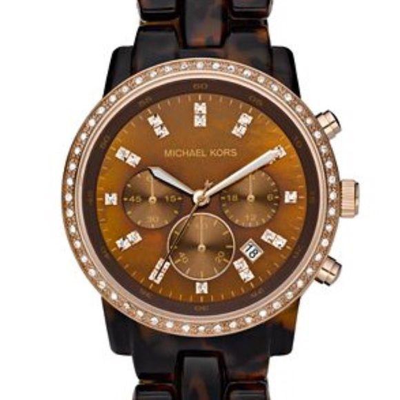 03031fcb9e65 Michael Kors Showstopper Tortoise Women s Watch Women s MK5366 Showstopper  Classic Chronograph Tortoise Watch. Box