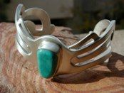 Fox mine Turquoise<br />Hand fabricated overlay<br />Sterling Silver