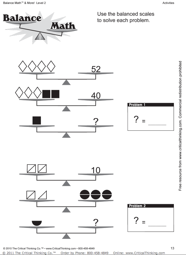 Collection of Balancing Math Equations Worksheet Sharebrowse – Maths Equations Worksheets
