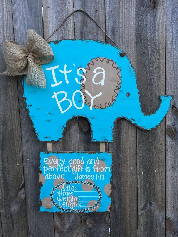 Baby Boy Birth Announcement Door Hangers : birth, announcement, hangers, Hospital, Hanger,, Elephant, It's, Nursery, Birth, Announcement, Signs,, Boutique