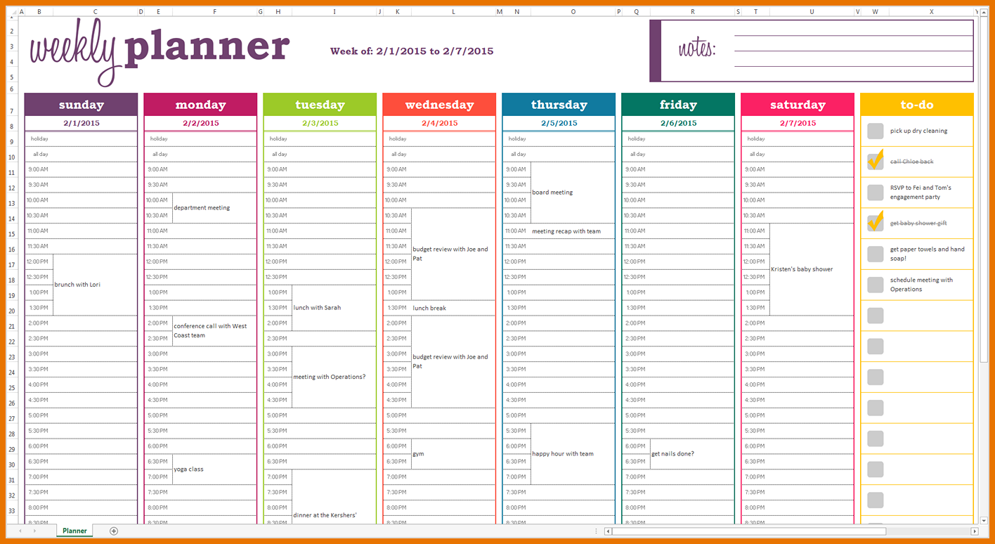 Dynamic Weekly Planner Excel Template