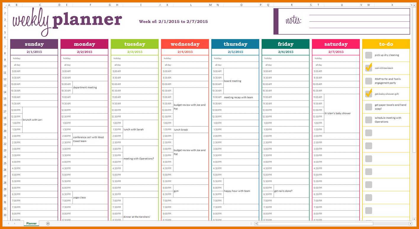Dynamic Weekly Planner Excel Template