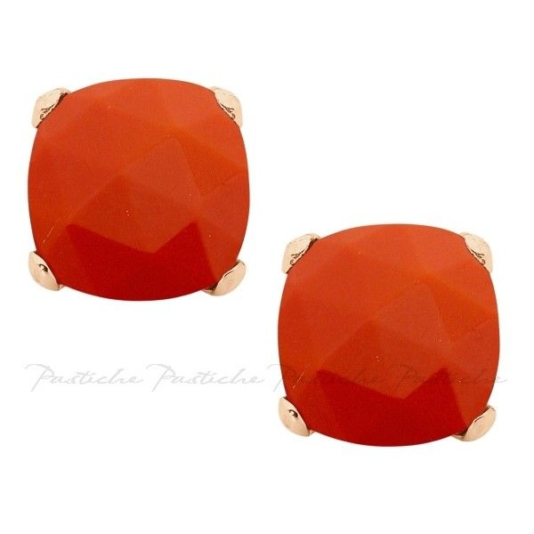 Pastiche Synthetic Coral Stud Earrings in Rose Gold Plated Silver ($120) ❤ liked on Polyvore featuring jewelry, earrings, women's accessories, imitation jewellery, imitation jewelry, stud earrings, rose earrings and earrings jewelry