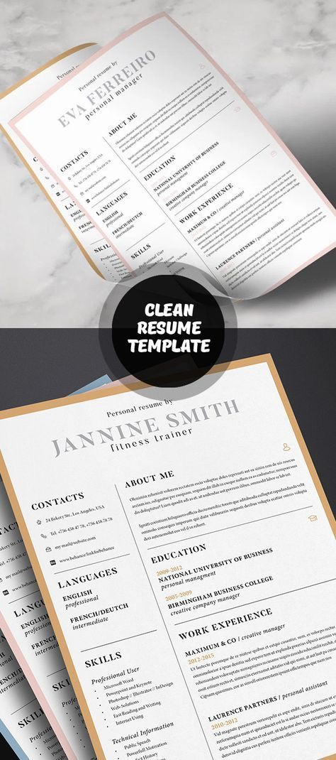 Clean Resume Template Resumes In 2018 Pinterest Template Cv