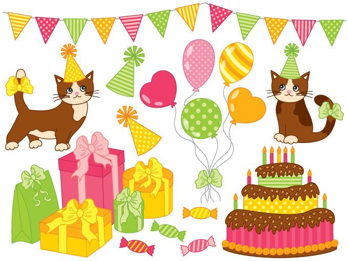 70 OFF SALE Party Clipart Digital Vector Happy Birthday Cake