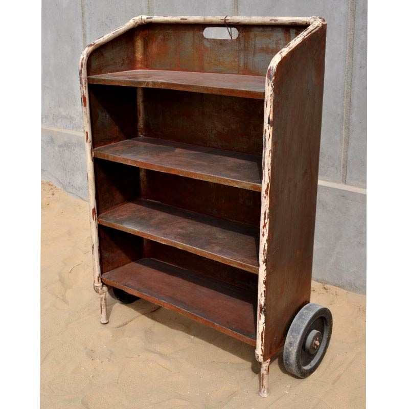 Bookshelf On Wheels Library Book Cart School Metal