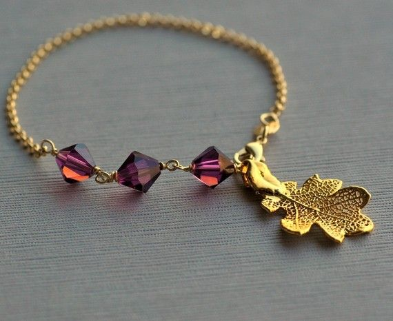 Amethyst Oak Bracelet  Genuine Oak Skeletal Leaf by FizaDesigns, $29.00