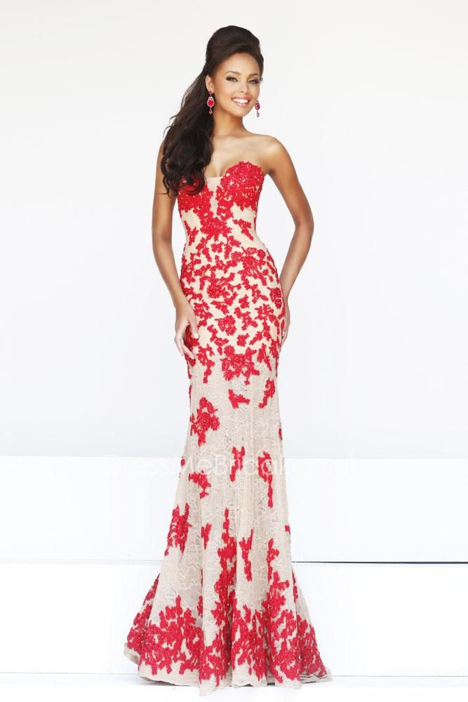 red floral strapless sweetheart mermaid floor length prom dress ...