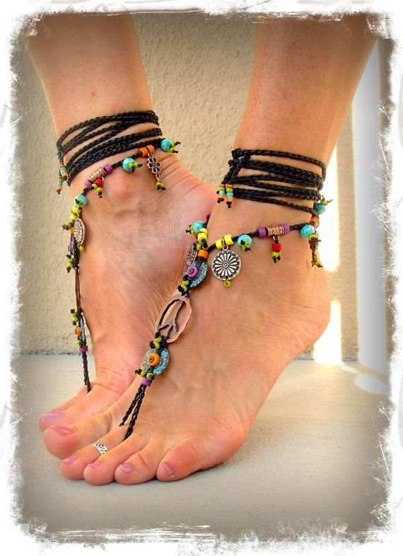 hippie boho peace sign barefoot sandals black and copper gypsy sandals crochet toe ankle wrap. Black Bedroom Furniture Sets. Home Design Ideas