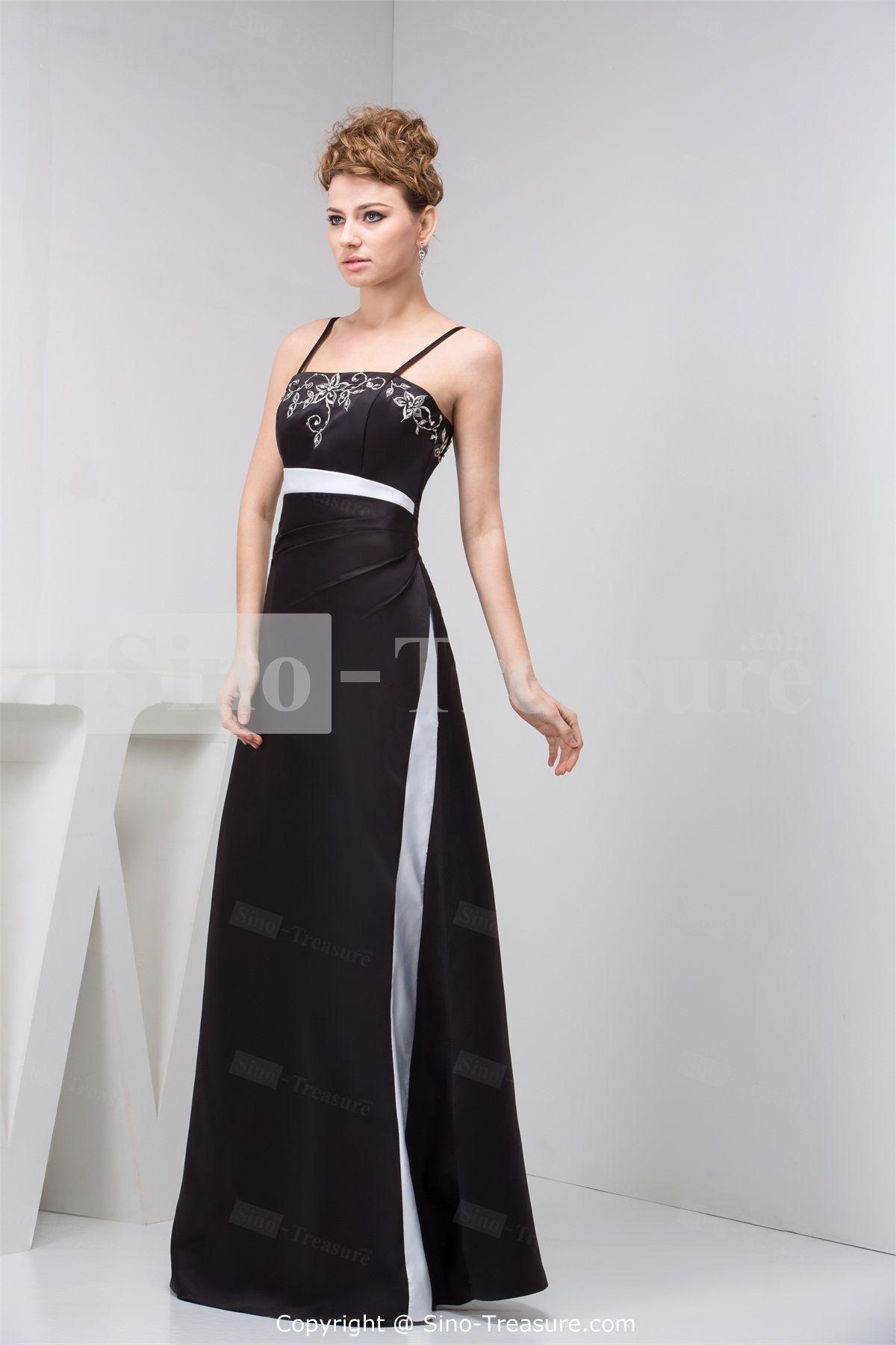 Black fantastic aline floorlength sleeveless satin evening dress
