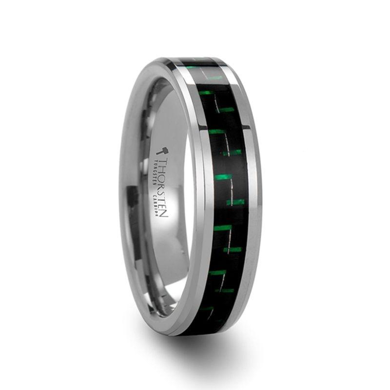Atronius tungsten carbide wedding band with black green