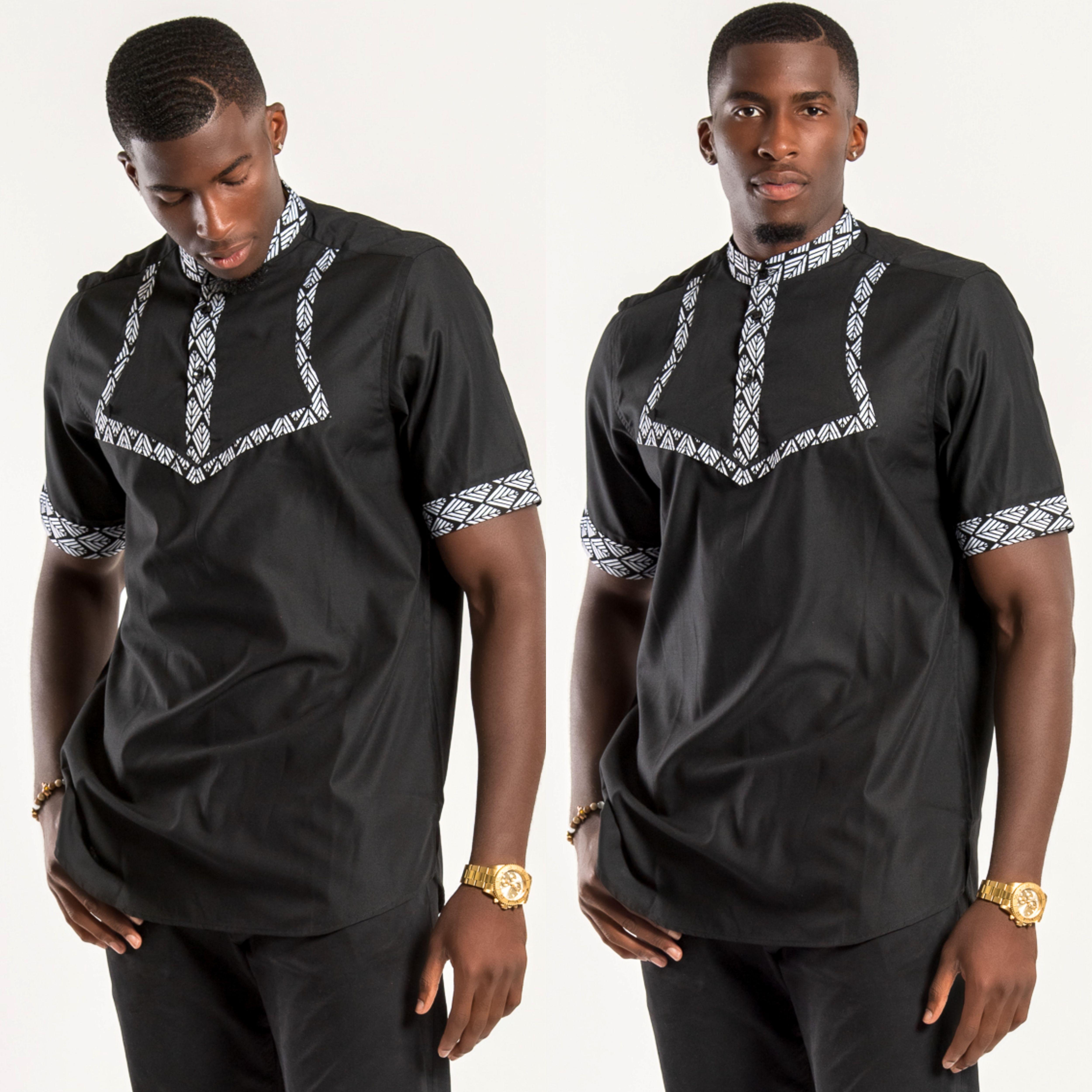 Zane African Print Men Shirt Black & White in 2020