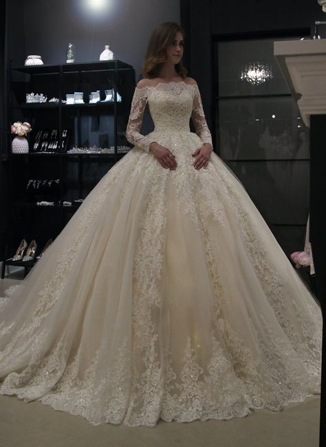 Princess royal off shoulder wedding dress Nuria by Olivia Bottega. Beading Lace wedding dress. Long sleeve wedding dress.