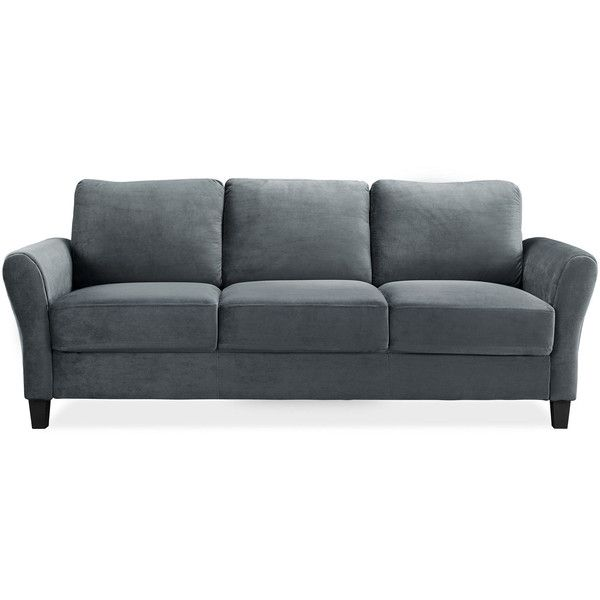 Westin Microfiber Rolled Arm Sofa ($250) ❤ liked on Polyvore featuring home, furniture, sofas, microfiber couch, microfiber sofa, microfiber furniture, micro fiber furniture and micro fiber sofa