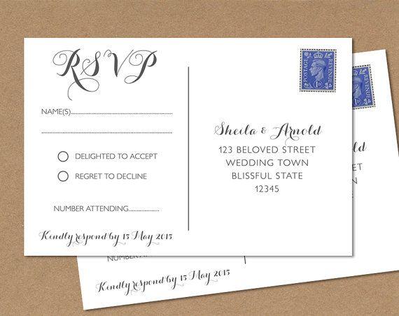 Postcard Rsvp Card Wedding Any Colour 4x6 Or Size Custom Stationery