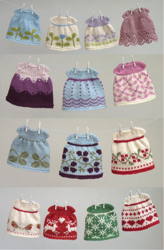 Toy knitting pattern for a seasonal selection of dresses (to fit the 9 inch animals)